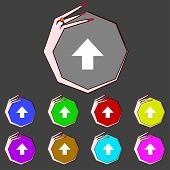This Side Up Sign Icon. Fragile Package Symbol.set Colourful Buttons. Hand Cursor Pointer Vector