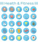 image of fitness  - Modern flat vector icons of healthy lifestyle - JPG
