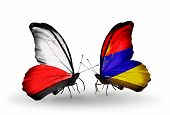 Two Butterflies With Flags On Wings As Symbol Of Relations Poland And Armenia