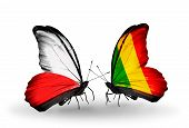 Two Butterflies With Flags On Wings As Symbol Of Relations Poland And Mali