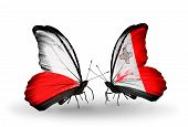 Two Butterflies With Flags On Wings As Symbol Of Relations Poland And Malta
