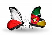 Two Butterflies With Flags On Wings As Symbol Of Relations Poland And Mozambique