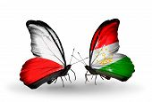 Two Butterflies With Flags On Wings As Symbol Of Relations Poland And Tajikistan