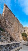 stock photo of chateau  - Chateau Royal wall in Collioure - JPG