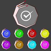 Check Mark Sign Icon. Checkbox Button. Set Colur Buttons. Vector
