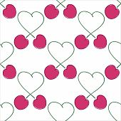 Seamless Pattern Bunches Love Cherry.