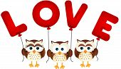 Cute owls with love balloons