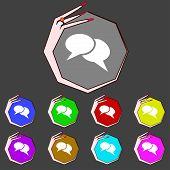 Speech Bubble Icons. Think Cloud Symbols. Set Colourful Buttons. Vector
