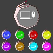 Computer Widescreen Monitor, Mouse Sign Icon. Set Colourful Buttons. Vector
