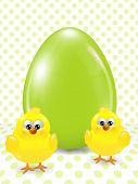 Easter Chicks And Egg Over Dotted  Background
