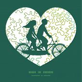Vector curly doodle shapes couple on tandem bicycle heart silhouette frame pattern greeting card tem