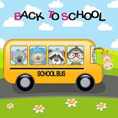 picture of motor-bus  - cartoon school bus with animals rides on the road - JPG