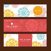 Vector abstract decorative circles stars horizontal banners set pattern background