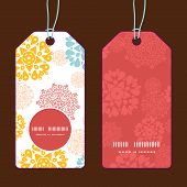 Vector abstract decorative circles stars vertical round frame pattern tags set