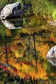 Fall Fire Orange Red Colors Reflection Wenatchee River Valley Washington