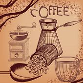 Coffee Poster With Hand Drawn Coffee Mill, Mug And Coffee Grains In Antique Style