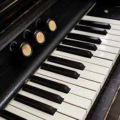 Closeup Of Antique Piano Keys And Wood Grain