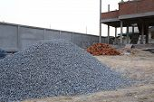 Piles Gravel In Construction Site