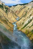 Waterfall In The North Rim Of The Canyon Of The Yellowstone In Wyoming During Summer