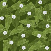 Seamless Background With Green Leaves And Flowers. Vector Illustration.