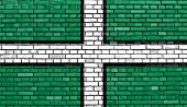 pic of devonshire  - flag of Devon painted on brick wall - JPG