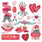 Valentines day set.Labels, emblems ,decorative elements,hearts