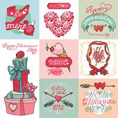 Valentines day card set.ELabels ,decorative elements