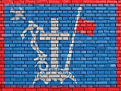 Flag Of Hydra Painted On Brick Wall
