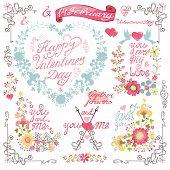 Vintage invitation, greeting card. Floral heart wreath,headline