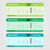 Three Classes of Blank Flight Boarding Pass Green Shades