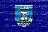 Flag Of Opatija Painted On Brick Wall