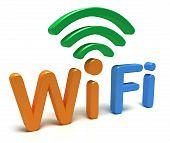 Logotipo de WiFi. Concepto 3D