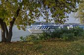 stock photo of passenger ship  - Passenger cruise ship in Ruse port at Danube river - JPG