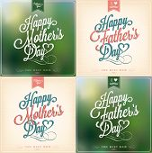 Happy Father's Day And Mother's Day Typographical Background Set