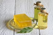 Cosmetisc for body care soap on boards
