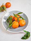 stock photo of clementine-orange  - Clementine tangerines with green leaves on white wooden background in a grey bowl - JPG