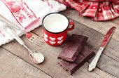 Valentine Hearts Decorated Mug With Modica Chocolate And Vintage Silverware