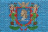 Flag Of Vitebsk Painted On Brick Wall