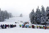 Ski Lift People Waiting