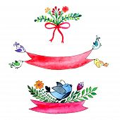 Blue Bird And Flovers