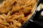 chicken parmigiana and penne