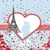 Design Template.Hearts ,flowers,Eiffel tower,Label