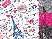 Paris symbols,lettering seamless pattern.Hand drawn doodle sketc