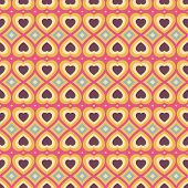 Fantasy abstract seamless pattern with hearts.