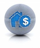 Home mortgage icon on globe formed by dollar sign, 3d render