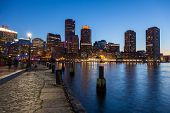 Boston Skyline By Night - Massachusetts - Usa -- United States Of America