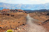 pic of nea  - Volcanic island Nea Kameni with Santorini panorama in background - JPG