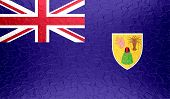 Turks and Caicos Islands flag on metallic metal texture