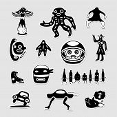 Vector set of crazy bizarre black and white stickers.
