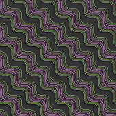 Geometrical Ornament With Diagonal Green And Purple Wavy Lines